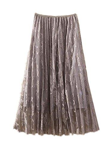 Haililais Femme Jupe Mi Longue Amincissante Jupe Plisse ElGant Jupe Dentelle Tendance Femelle Skirt Taille Haute Jupe Grey