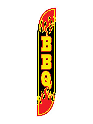 LookOurWay BBQ Flames Feather Flag, 12-Feet, Black