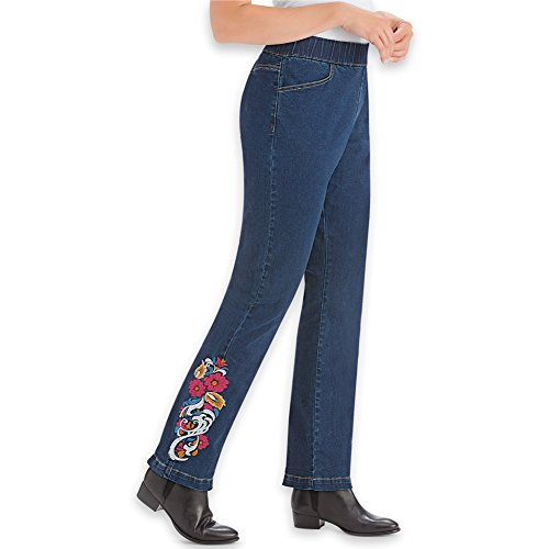 Women's Women's Floral Embroidered Pull-On Elastic Waist Denim Jeans Pants with Front Pockets, Indigo Blue, Medium