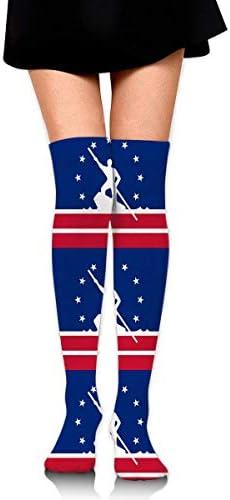 Knee High Socks Richmond City Flag Virginia Women's Athletic Over Thigh Long Strümpfe
