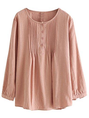 Femme et Style2 rosa Printemps D'Ete Styles Lin Deux en Shirt MatchLife Tunique Coton T de Blouse BIwxpHHaqd
