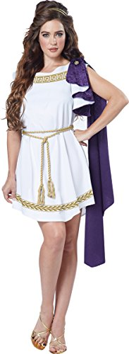 California Costumes Women's Grecian Toga Dress, White/Purple, Large - Grecian Toga Costume