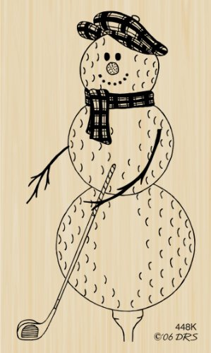 (Golf Ball Snowman Rubber Stamp By DRS)