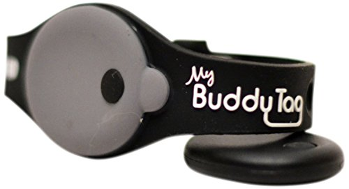 My Buddy Tag with Silicone Wristband, Black