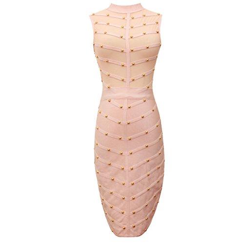 HLBCBG rayón de la mujer vendaje Bodycon vestido de cóctel vestido de fiesta 2354 Rosa