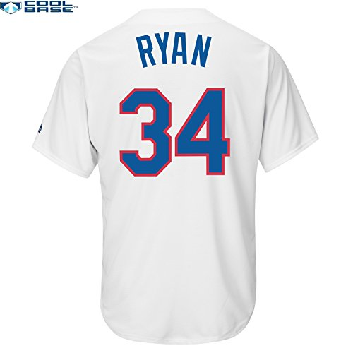 Majestic Nolan Ryan Texas Rangers #34 MLB Men's Cool Base Cooperstown Jersey White (Medium)