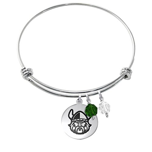 Cleveland State Vikings Stainless Steel Adjustable Bangle Bracelet with Round Charm & Crystal Accents