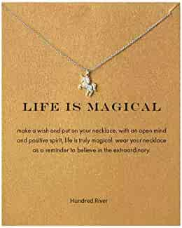 Hundred River Friendship Anchor Compass Necklace Good Luck Elephant Pendant Chain Necklace with Message Card Gift Card