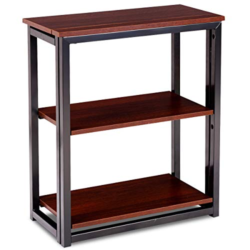 (Giantex Folding Bookshelf Bookcase W/Top Shelf No Assemble Industrial Ladder for Living Room Bedroom Balcony, Multifunctional Plant Flower Display Stand Shelf Decor, Espresso (2 Tier))