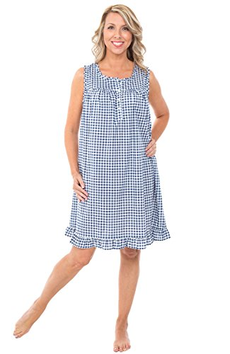 Alexander Del Rossa Womens 100% Cotton Lawn Nightgown, Sleeveless Chemise, XX-Large Navy Blue Gingham (A0580V872X)