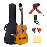 Classical Guitar 3/4 Size 36 inch Kids Guitar Acoustic Guitar for Beginners 6 Nylon Strings Guitar Starter Kits with Waterproof Bag Guitar Clip Tuner Strap Picks Wipe (36inch#02)