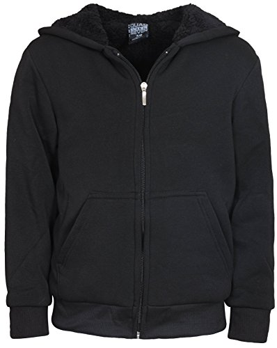 Quad Seven Boys Full Zip Hoodie with Sherpa Lining, Black, Size 12/14'