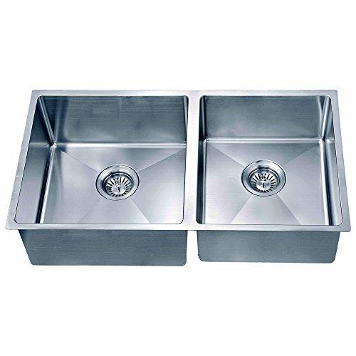 Satin Polished Double Bowl - Dawn SRU301616R Undermount Small Corner Radius Double Bowl Sink, Polished Satin