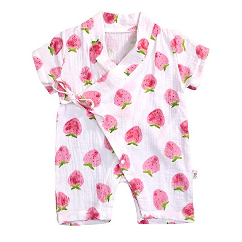 YOUNGER TREE Kimono Newborn Cotton Yarn Robe Infant Baby Japanese Pajamas Romper Easter Bunny Clothes (0-3 Months, Strawberry)