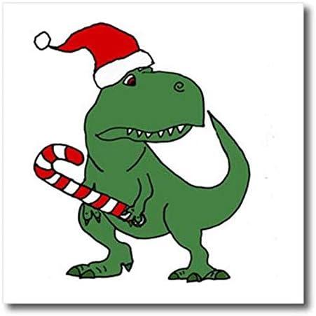 3dRose Divertido dinosaurio T-rex verde con gorro de Papá