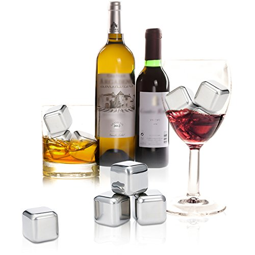 Skymore Whiskey Stones Gift Set, Reusable Ice Cubes Stainless Steel, Chilling Stone for Whiskey, Vodka, Wine, Beer, Beverage and All Drinks, 4Pcs Pack With A Bag