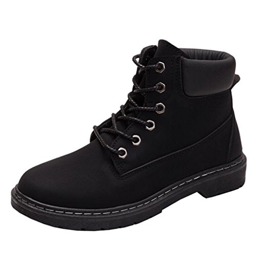 Boots Style Black Round Flat Toe Binying Lace up British Women's 8UwOEZnqT