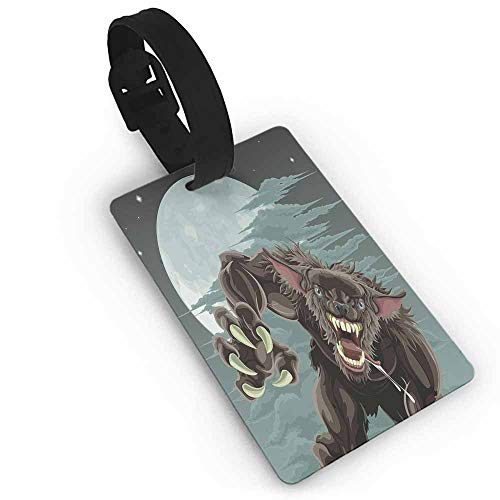Leather luggage tag,Wolf,Night Skyline with Full Moon and Stars Werewolf Attacking Position Ravenous Being,Holders Zip Seal & Steel Loops Thick Multicolor