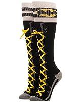 "Batman Faux Lace Up Knee High ""Boot"" Socks w/Cuff - One Size , Black , 5-10"