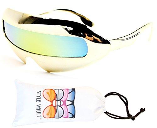 V160-vp Style Vault Robot Space Party Sunglasses (B2229F Chrome Gold-Gold Mirror, - Future Retro Glasses