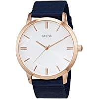 Guess Silver Dial Blue Fabric Strap Mens Watch
