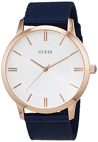 Guess Silver Dial Blue Fabric Strap Men's Watch W0795G1