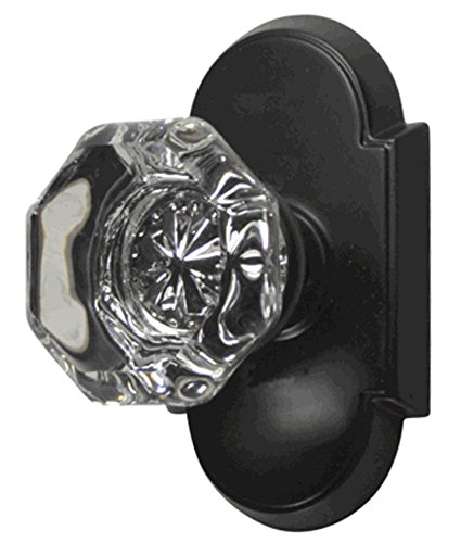 Providence Octagon Real Crystal Glass Door Knob Set with Arched Rosettes in Oil Rubbed Bronze (Passage Hall/Closet)