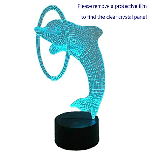 (Unitake 3D Illusion Table Desk Lamp LED for Home Bedroom Decoration Kids Birthday Gifts Dolphin)