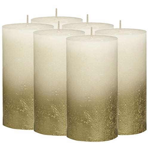 - BOLSIUS Rustic Fading Metallic Gold & Ivory Candles – Set of 6 Pillar Candles – Ivory Candles with a Fading Gold Metallic Coat – Perfect Décor Candle – Wedding – Party – 130/68m 5X2.75