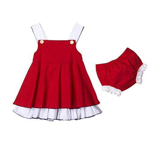 Newborn Baby Girl Summer Dress Tops+Tutu Pants 2PCS Outfits Clothes Sunsuit Set 0-24M (2-3 Years, Red) ()