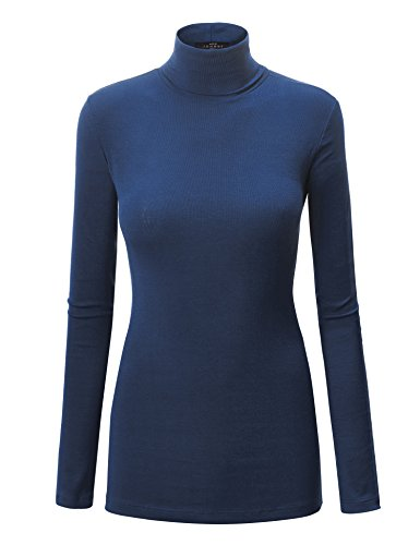 WT950 Womens Long Sleeve Turtleneck Top Pullover Sweater M Navy