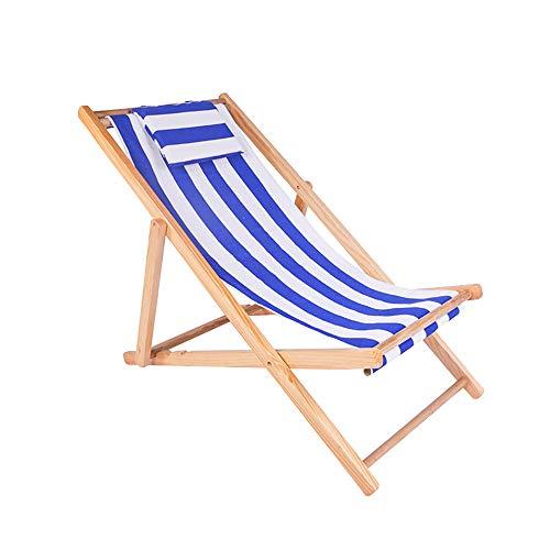 LEYOUDIAN Zhedieyi Beach Chair Recliner Folding Chair Canvas Chair Lunch Break Chair Outdoor Portable Chair accompanying Chair (Color : Blue)