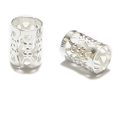 100pcs Top Quality 8x6mm Silver Plated Filigree Pattern Tube Spacer Beads Copper Metal (Hole Size ~4.9mm) CF106-S (Spacer Silver Tube)