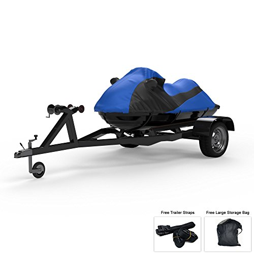 Custom Contour Fit Weatherproof Jet Ski Cover For Yamaha XL 800 2000-2002 - BLUE/Black Color - All Weather - Trailerable - Protect from Rain & Sun! Includes Trailer Straps & Storage Bag Custom Fit Cover Ski