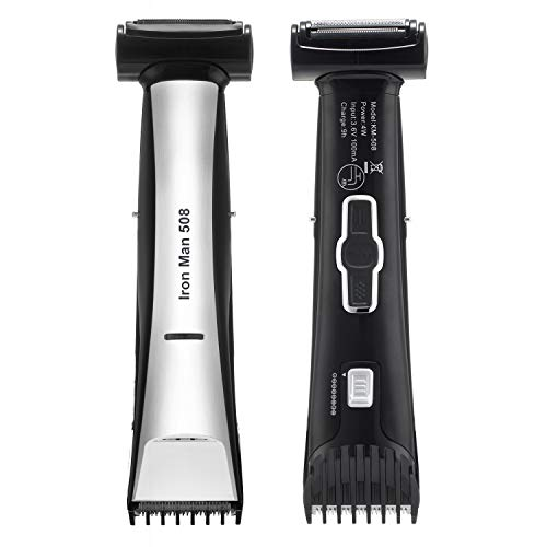 Lanvier Dual Side Body Groomer, Waterproof 2 in 1 Body Hair Trimmer and Shaver for Men - Back & Silver (KEMEI By LANVIER)