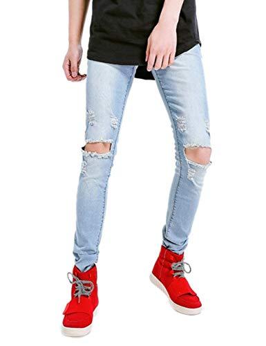Slim Especial Estilo Dritta Strappati Rotti Fori A Gamba Jeans Blau Angosciati Con Fit Cher Vintage qan8nEA
