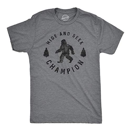 Mens Hide and Seek Champion Tshirt Funny Bigfoot Tee for Guys (Dark Heather Grey) - L from Crazy Dog T-Shirts