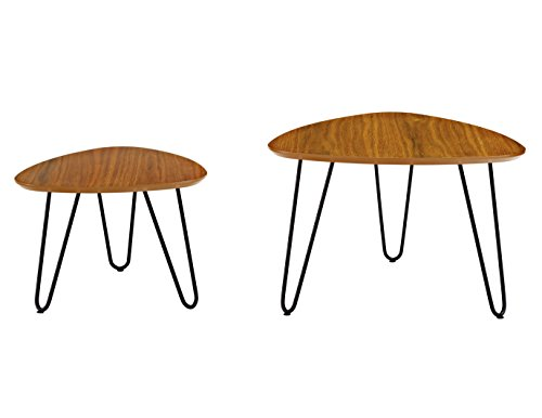 WE Furniture Hairpin Leg Wood Nesting Coffee Table Set - Walnut by WE Furniture (Image #4)'