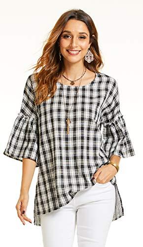 - SONJA BETRO Women's Plaid Woven Cotton Ruffle Sleeve Tunic Plus Size XXX-Large