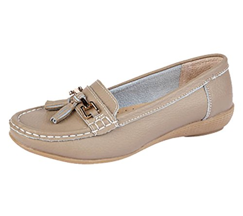 Jo & Joe Ladies Leather Moccasins Loafer Plimsole Pumps Womens Tassel Flat Shoes Taupe