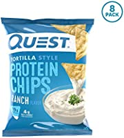 Quest Nutrition Tortilla Style Protein Chips, Ranch, Low Carb, Gluten Free, Baked, 1.1 Ounce (Pack of 8)
