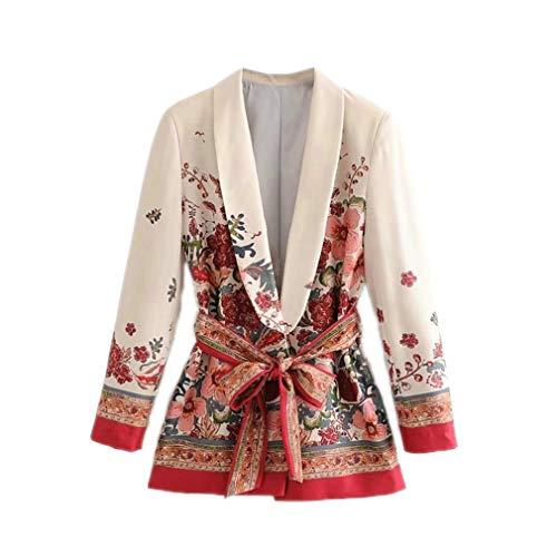 Women Suit Blazer Floral Jacket Korea Fashion Long Sleeve Ladies Blazer Female Office Coat Blaser Red S