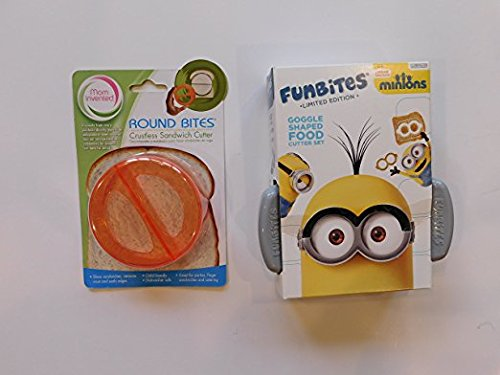 Minions Funbites Limited Edition Goggle Shaped Food Cutter and Good Bites Mom Invented Round Crustless Sandwich Cutter Removes Bread Crust