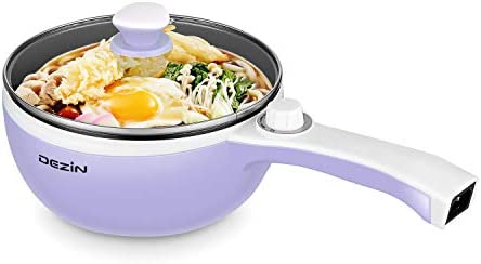 Dezin Electric Hot Pot Upgraded, Non-Stick Sauté Pan, Rapid Noodles Cooker, 1.5L Mini Pot for Steak