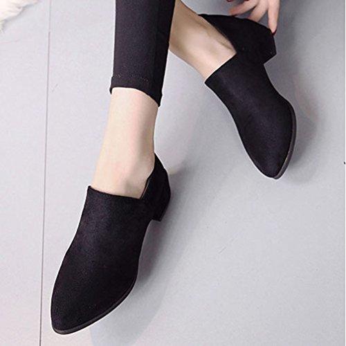 Hoxekle Womens Versione Coreana Tacchi Grezzi Low Top Low Heels Punta A Punta Suola In Gomma Slip On Scarpe Mocassino Nero