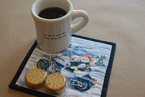 Snowman Couple Motorcycle Mug Rug, Biker Couple, Blue Bike, Fat Boy, Harley Vests, Biker Gift Ideas, Gifts Under 10, Secret Santa, Holiday Table Linens, Winter Home Decor, Biker Themed Gifts ()