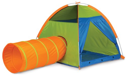 Pacific Play Tents Kids Hide Me Dome Tent and Crawl Tunnel Combo, Blue / Green / Orange