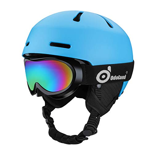 Odoland Snow Helmet with Ski Goggles for Kids and Youth, ASTM and EN1077 Certificated Ski Helmet for Skiing Skating Snowboarding, Shockproof & Universal Fit, Blue (Best Kids Ski Helmets)