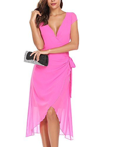 Dress Rose Summer Self Sleeve Women's Chiffon line V Cap Tie Ruffle ANGVNS Neck Dress A Red Wrap fEZgw