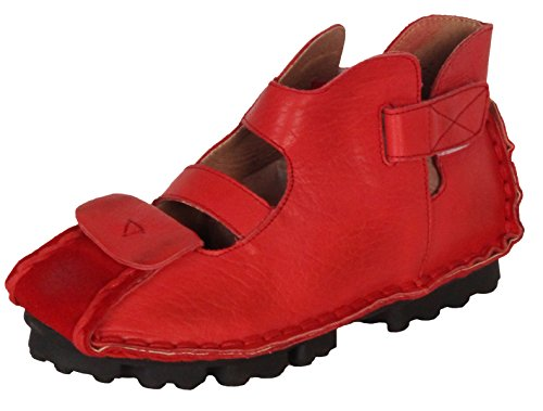 para cuero verano de 1 estilo Pisos mano vintage a Nueva hechos mujer de Red Vogstyle genuino sandalias tx0IwqC8